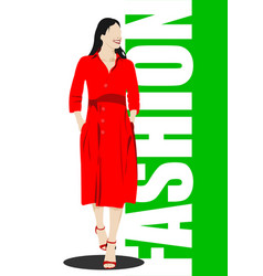 Silhouette fashion woman in red vector