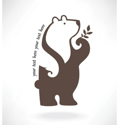 Standing bear in symbol style vector