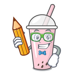 Student raspberry bubble tea character cartoon vector