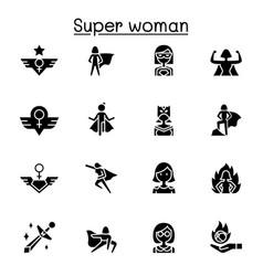 super hero woman icon set graphic design vector image