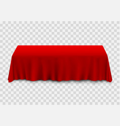 Table with tablecloth red vector