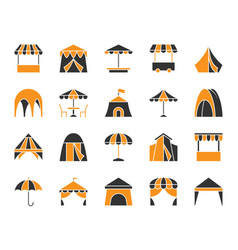 tent simple color flat icons set vector image