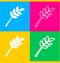 tree branch sign four styles of icon on four vector image