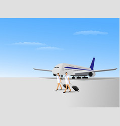 Two flight attendant women walking on an airstrip vector