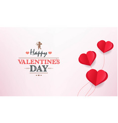 valentines day card with red hearts background vector image