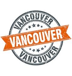 Vancouver red round grunge vintage ribbon stamp vector