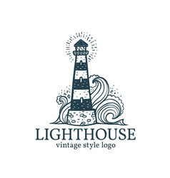 vintage lighthouse logo template vector image