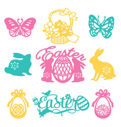 vintage paper cut silhouette easter filligree set vector image