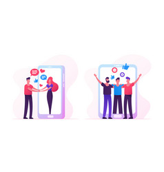 web dating concept with people meeting in internet vector image