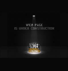 Web site banner is coming soon with floodlight on vector