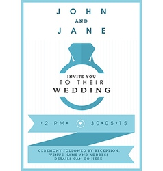 Wedding invitation blue ring theme vector