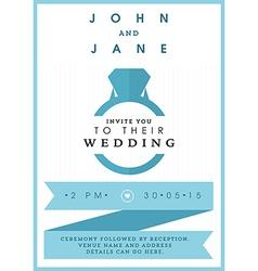 Wedding invitation blue ring theme vector image