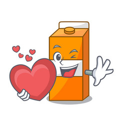 with heart package juice mascot cartoon vector image