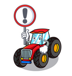 with sign tractor character cartoon style vector image