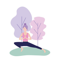 Woman practice yoga posture calm vector