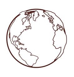 world map globe cartoon vector image