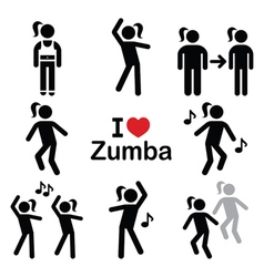 Zumba dance workout fitness icons set vector