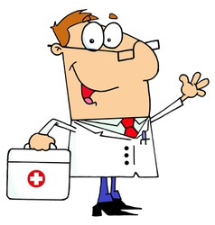 Doctor Man Carrying His First Aid Bag vector image vector image