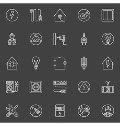 Electricity thin line icons vector image