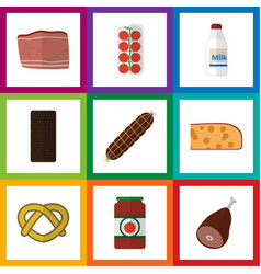 Flat icon eating set of beef smoked sausage vector