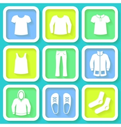 Set of 9 bright icons of men clothing vector image vector image