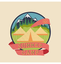 Summer camp adventure badge vector image