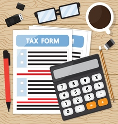 Tax calculation on wood table vector image vector image