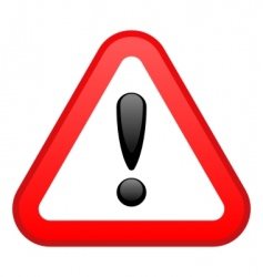 warning red triangular sign vector image vector image