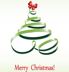 christmas ribbon tree vector image vector image