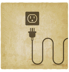 electric wire with plug near outlet old background vector image vector image
