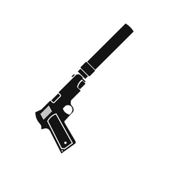 Pistol with silencer black simple icon vector image vector image