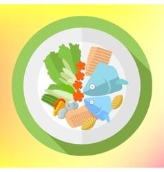 Plate fish salad flat icon vector image vector image