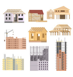flat Building under construction Building vector image
