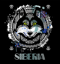 image of siberian husky in ethnic style vector image vector image