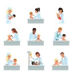 pediatrician doctors doing medical examination of vector image
