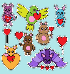 animal toys with heart vector image
