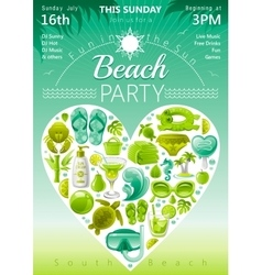 Beach party invitation in green lima and mint vector image vector image