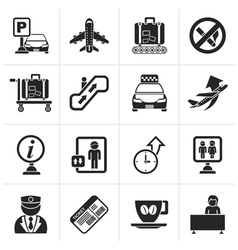 Black Airport and transportation icons vector image vector image