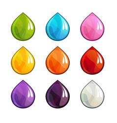 cartoon colorful drops icons set vector image vector image