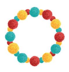 Colorful vibrant wreath birthday party pom vector