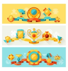 Horizontal banners with trophy and awards in flat vector image