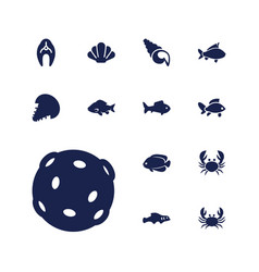 13 seafood icons vector