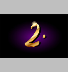 2 two number numeral digit golden 3d logo icon vector image
