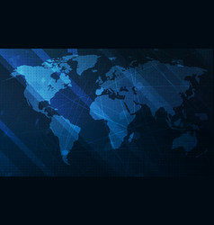 abstract blue world map background digital vector image