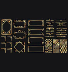 art deco elements set creative golden borders vector image