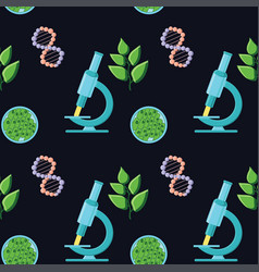 Biology themed seamless pattern with microscopes vector