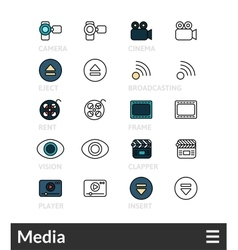 Black and color outline icons thin stroke line vector image