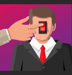 Businessman with power switch in head and hand vector