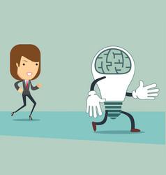 Businesswoman catches ideas a businesswoman runs vector
