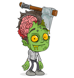 Cartoon funny green zombie boy character vector